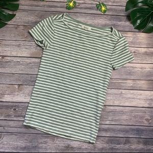Madewell Green & white striped fitted stretch T